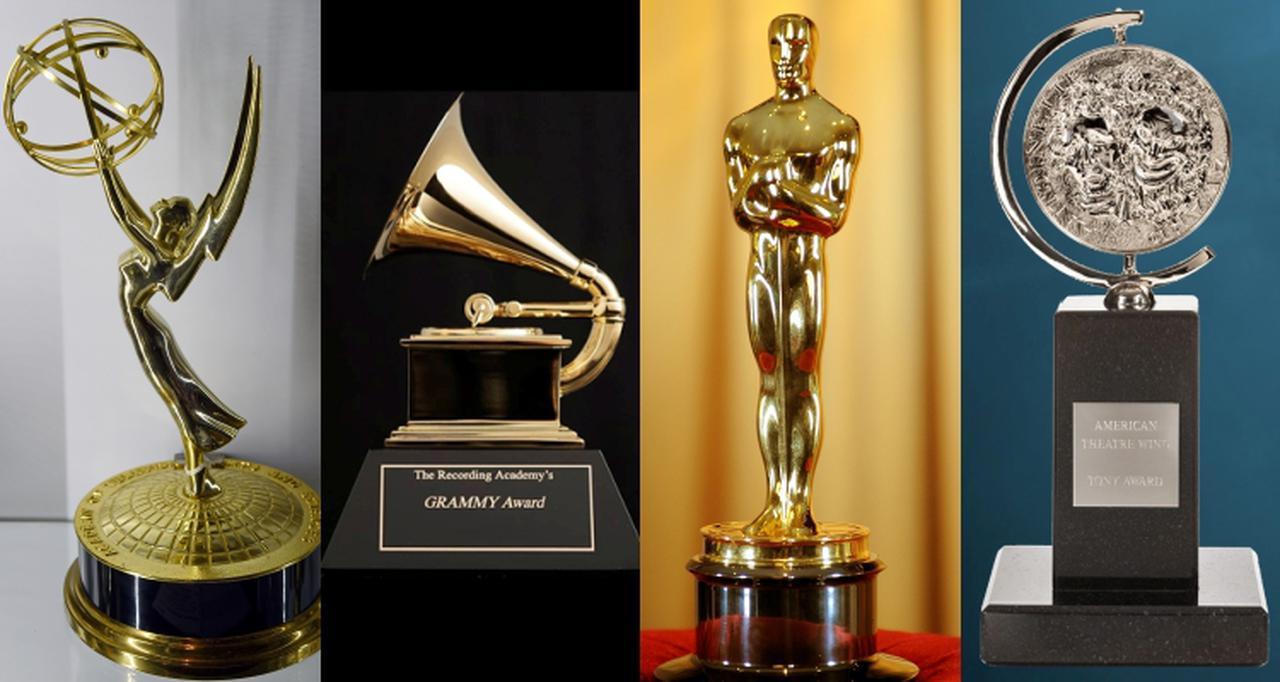画像: 左から:エミー賞、グラミー賞、アカデミー賞、トニー賞のトロフィー