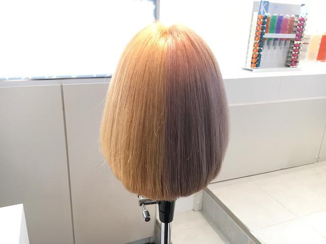 画像: 右半分:何も使用していない髪、左半分:ブロンド・アブソリュを使用した髪