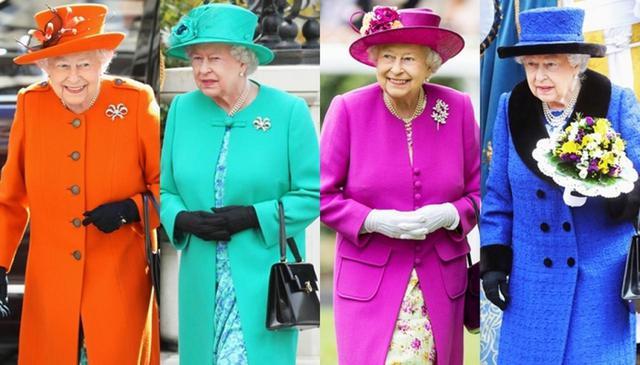 画像: 通常は派手色の着こなしが多いエリザベス女王。