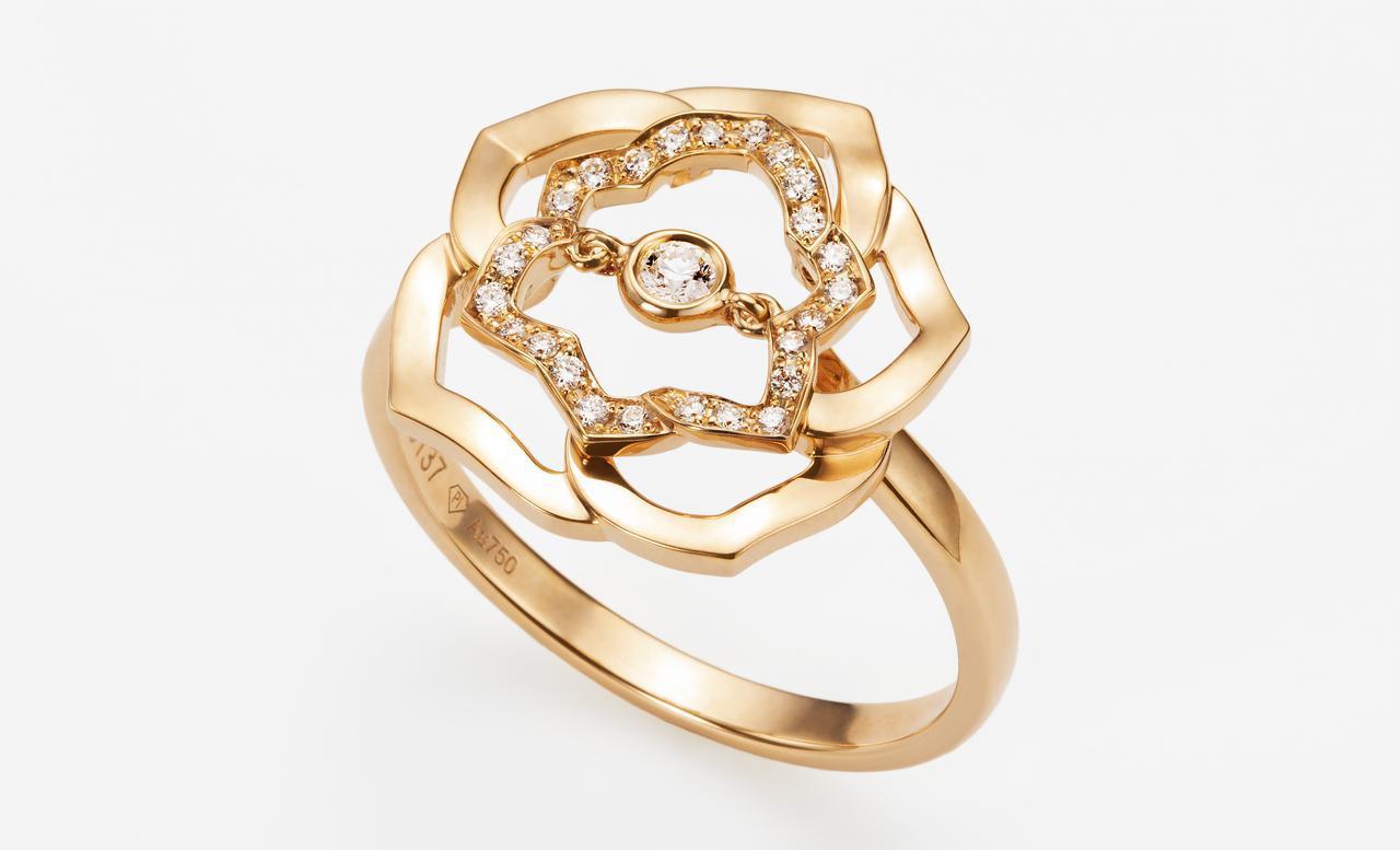 画像: ピアジェ ローズ リング (G34UWE100) 本体価格:¥380,000(税抜)/素材:18Kピンクゴールド、ダイヤモンド/モチーフ幅:約15mm