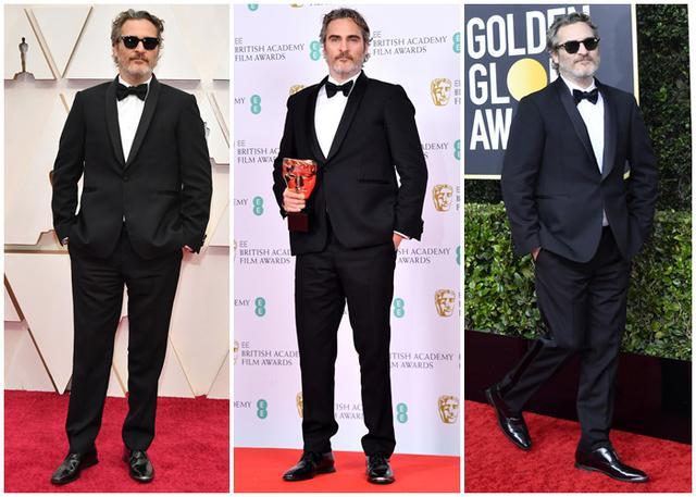 画像: 左から、2020年のアカデミー賞、英国アカデミー賞、ゴールデン・グローブ賞に、同じステラ・マッカートニーのスーツを着用するホアキン・フェニックス
