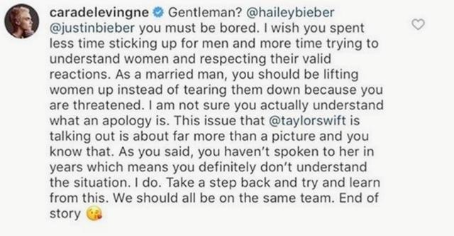 画像: ジャスティンとヘイリーを痛烈批判したカーラのコメント。©Cara Delevingne/ Instagram