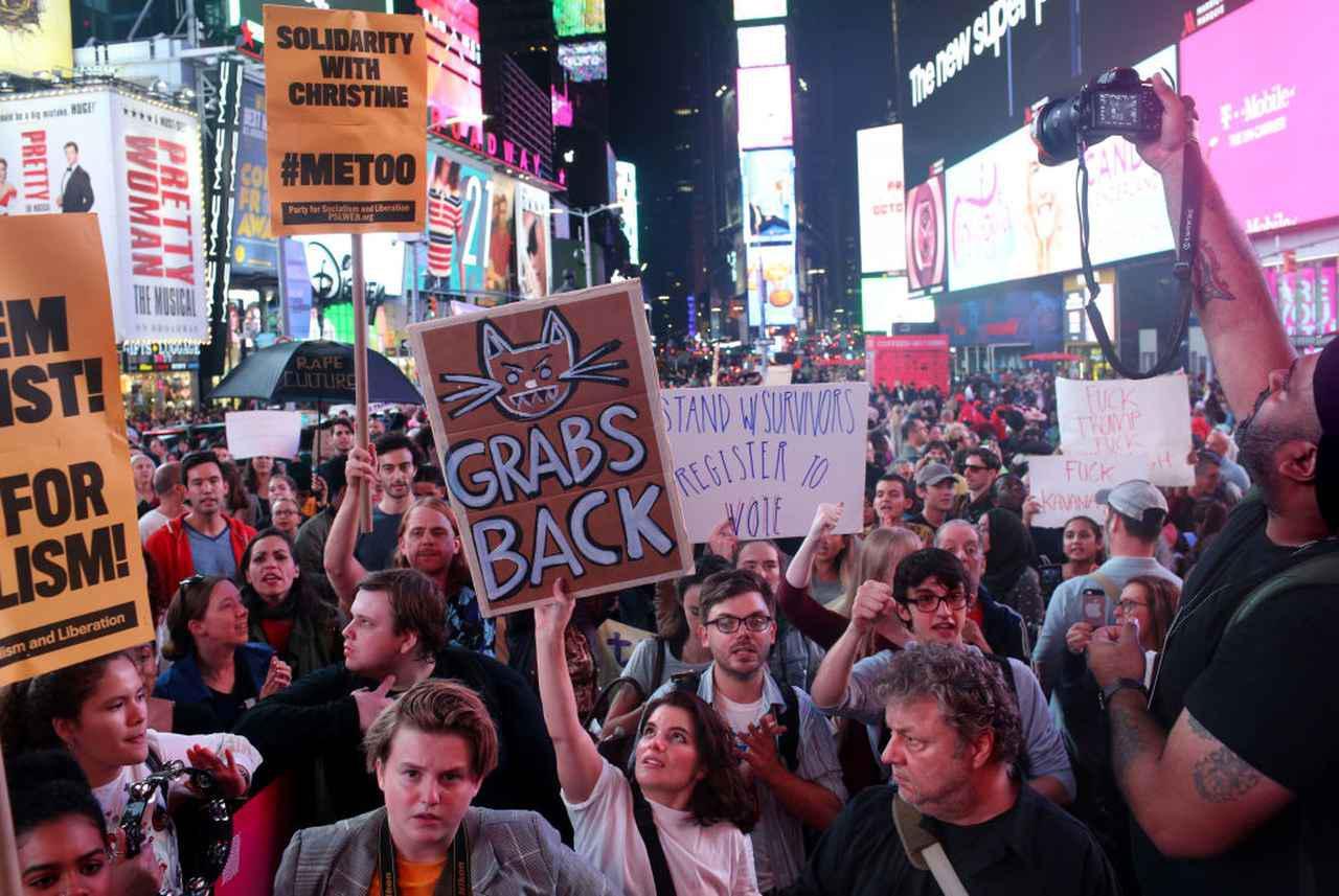 画像: カバノー氏の就任に対する反対デモ(ニューヨークで2018年10月6日に撮影)