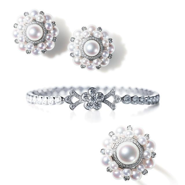 画像: 写真上より:PEARL Collection イヤリング(750WG, Pearl, Diamond)/UMEUTAGE ブレスレット(750WG, Diamond)/PEARL Collection リング(750WG, Pearl, Diamond)