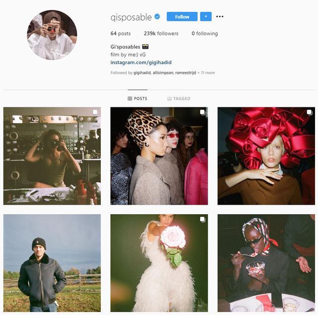 画像: ジジ・ハディッドの写真専用アカウント。昔のカメラで撮った写真を最新のアプリで公開するという、昔と今のコラボも起きている。©gisposable/Instagram