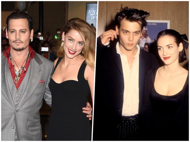 画像: ジョニー&アンバー(左)、ジョニー&ウィノナ(左)。