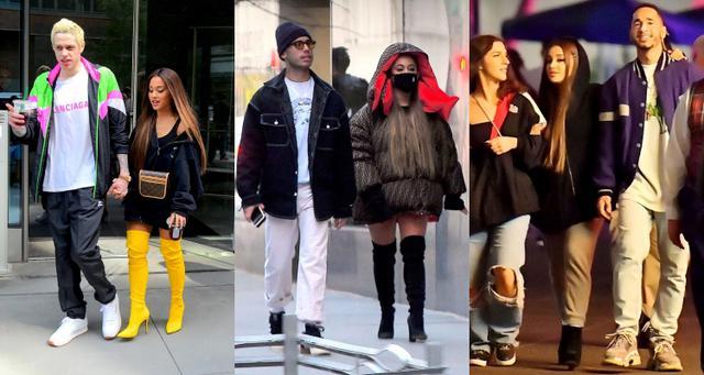 画像: 左から:ピートと交際中のアリアナ、リッキーとニューヨークの街を散歩するアリアナ、2月に友人たちとマイキーと一緒にディズニーランドに出かけたアリアナ。