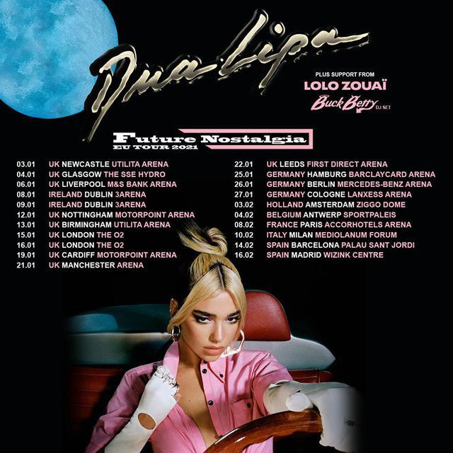画像: Future Nostalgiaツアーの2021年ヨーロッパ公演の日程。