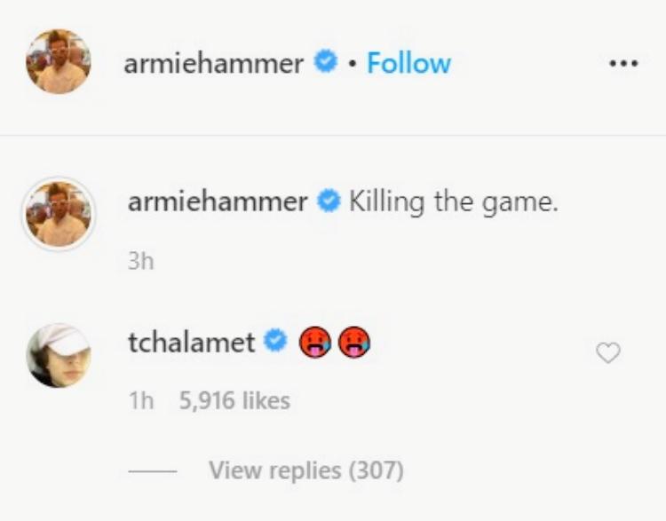 画像: ©Armie Hammer/ Instagram