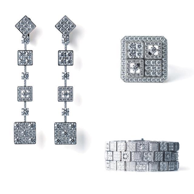 画像: 写真左より時計まわり:KYOKOMICHI イヤリング、リング、ブレスレット(すべて750WG, Diamond)