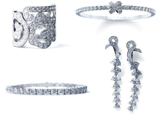 画像: 写真左上より時計まわり:KARAHANA リング/ KANO ブレスレット/ RENKA イヤリング/ KUON ブレスレット(すべて750WG, Diamond)