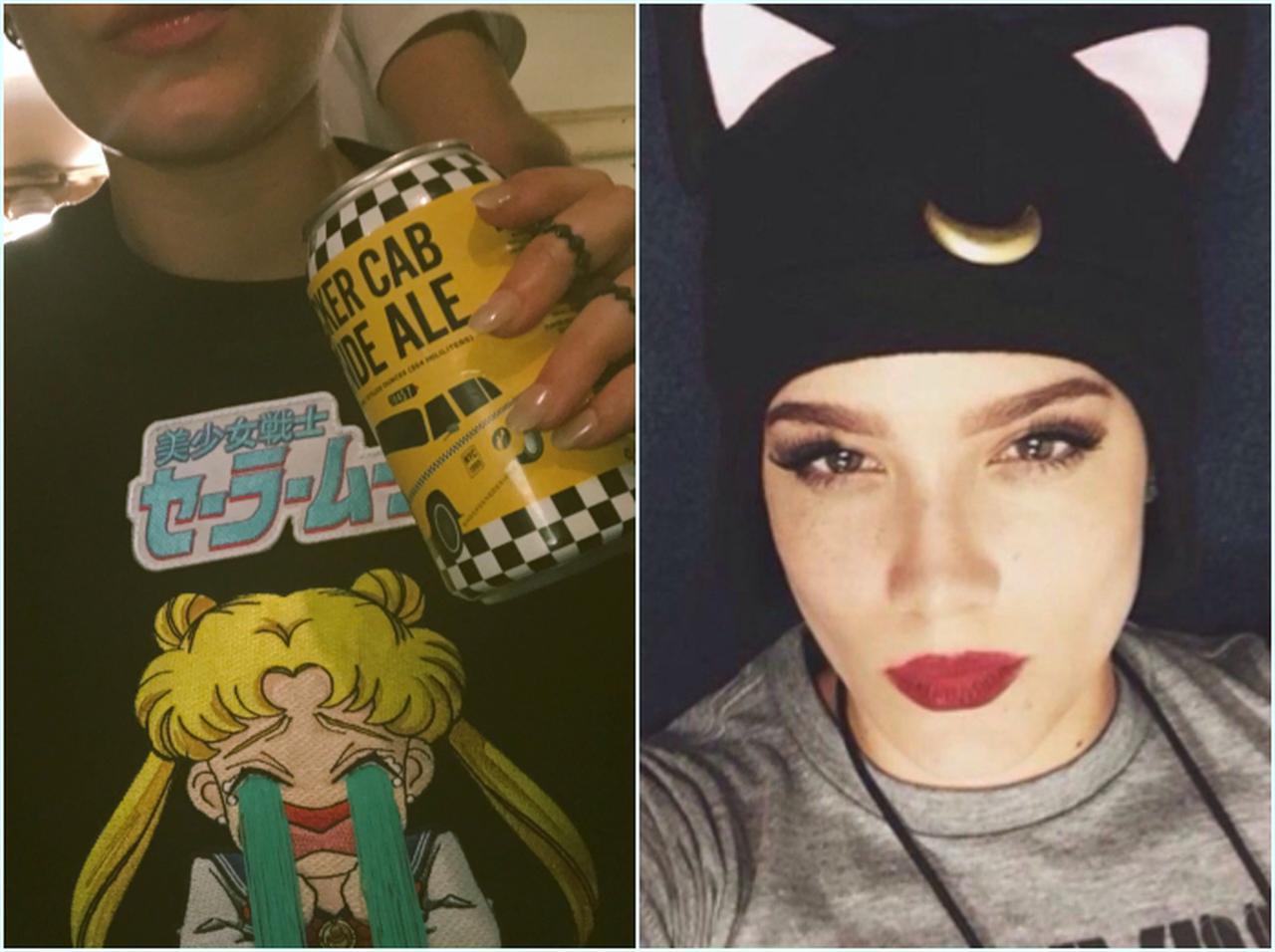 画像: 左:主人公の月野うさぎの泣き顔が刺繍されたスウェットを着用。右:うさぎの相棒猫「ルナ」の形のニット帽をかぶって。©Halsey/ Twitter