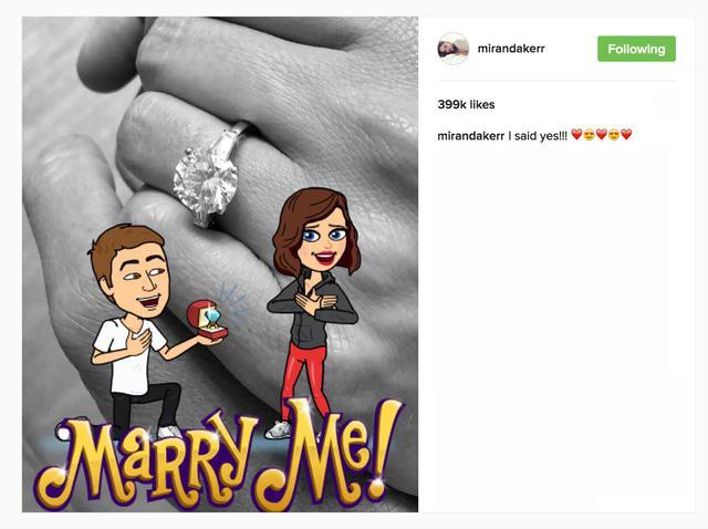 画像: 「YESと言いました!」というコメントと共にインスタグラムに左手薬指に輝く指輪の写真をアップして婚約を発表。