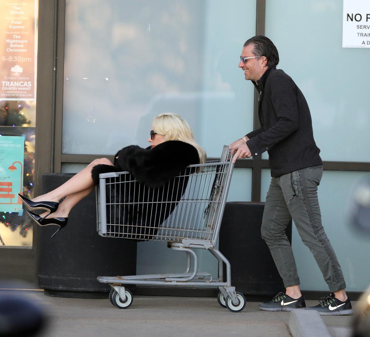 画像: 2017年12月25日、自宅近くのスーパーにクリスチャンと買い出しに出かけ、ショッピングカートに収まるガガ。