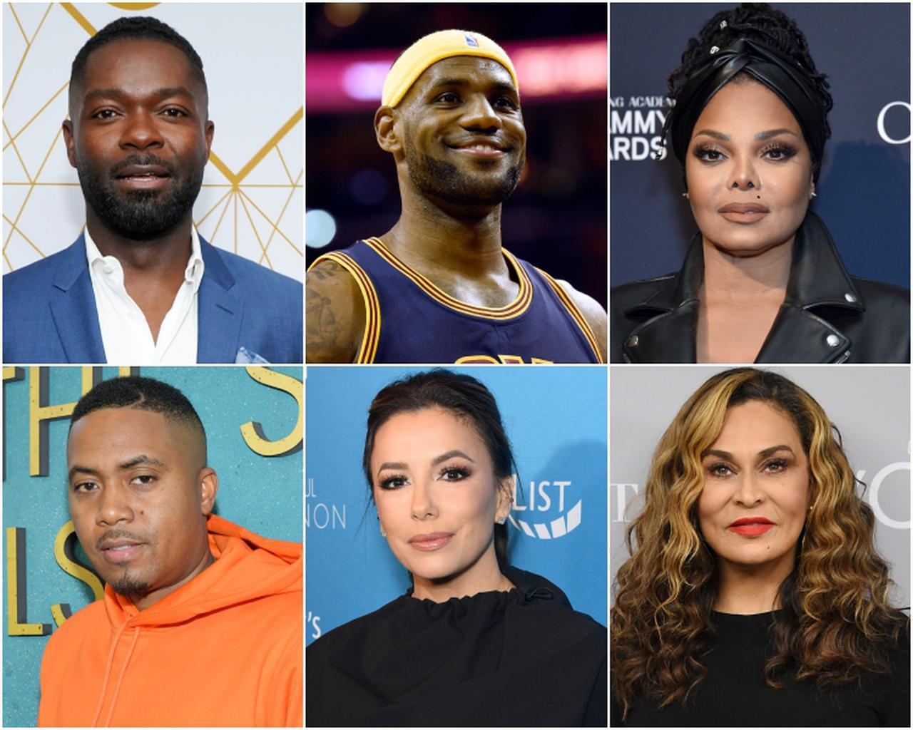 画像: 上段左から:デヴィッド・オイェロウォ、レブロン・ジェームス、ジャネット・ジャクソン、下段左から:ナズ、エヴァ・ロンゴリア、ティナ・ノウルズ