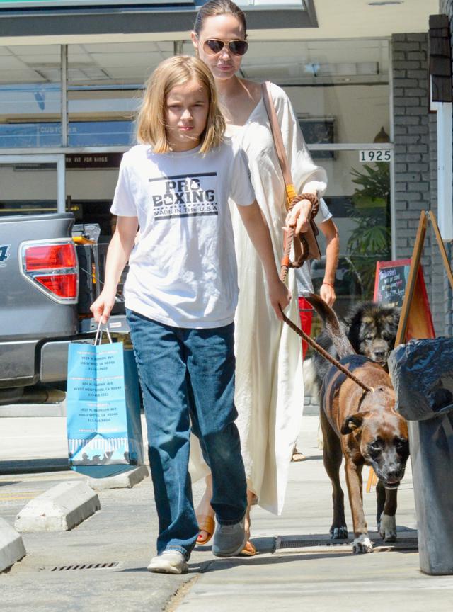 画像: ヴィヴィアンと一緒に愛犬を連れてペットショップに買い物に出かけたアンジェリーナ。(2019年8月撮影)