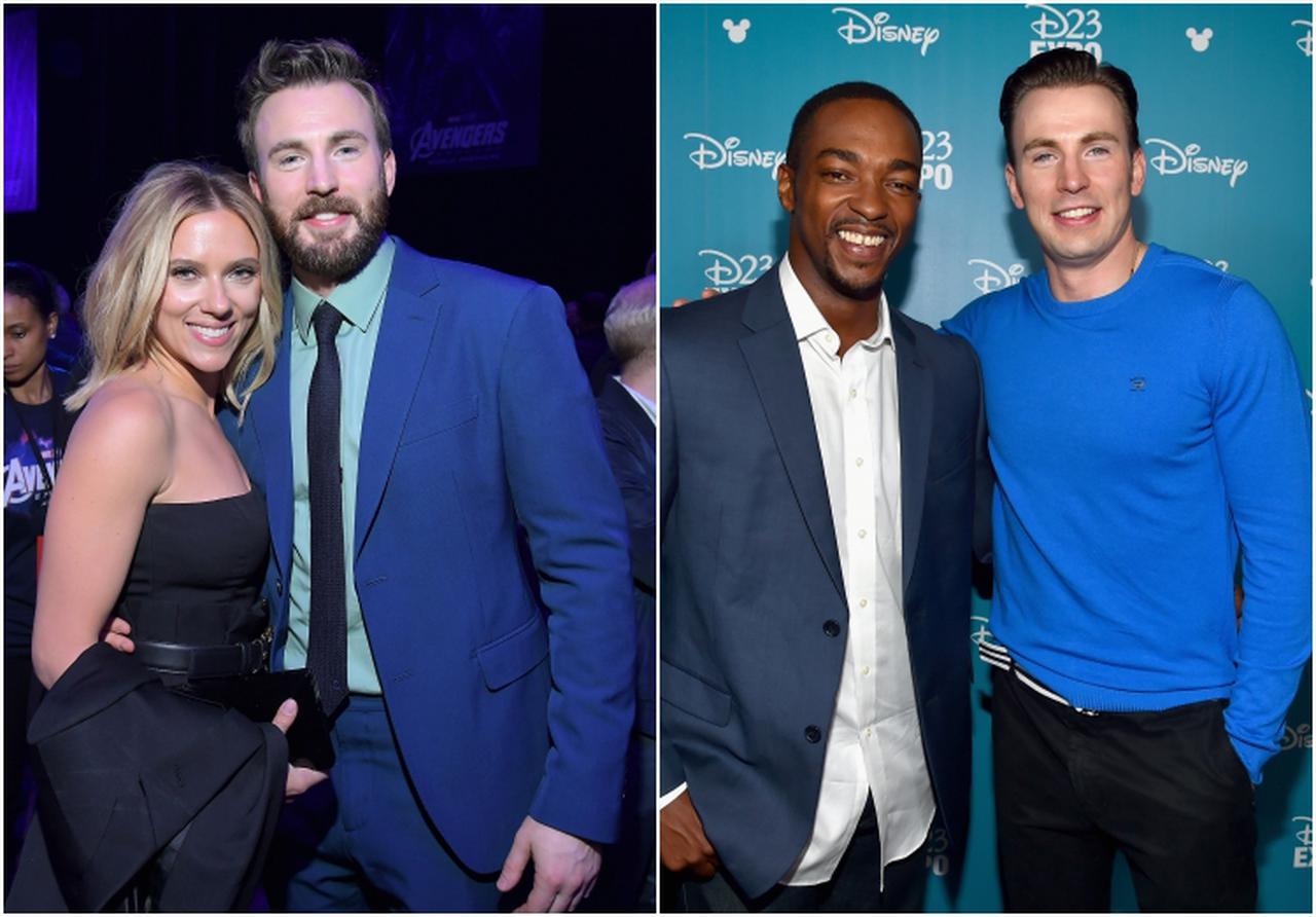 画像: 左:スカーレット・ヨハンソンとクリス。右:アンソニー・マッキーとクリス。