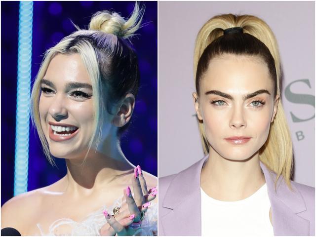 画像: 左:シンガーのデュア・リパ、右:モデルのカーラ・デルヴィーニュ