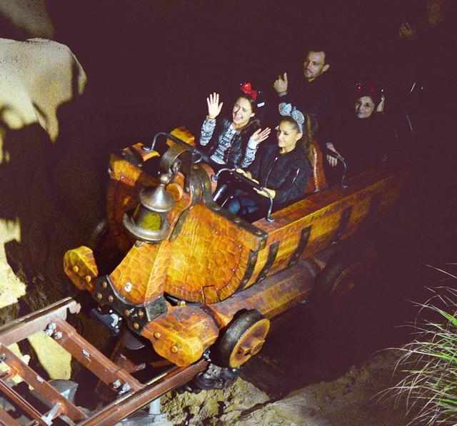 画像: 夜ディズニー中に『七人のこびとのマイントレイン』を楽しむアリアナ・グランデ。