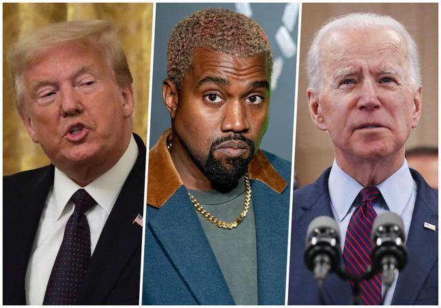 画像: 左からドナルド・トランプ大統領、カニエ・ウェスト、ジョー・バイデン元米副大統領。