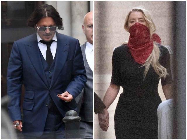 画像: 英高等法院に到着したジョニー・デップ(左)とアンバー・ハード(右)。