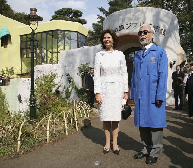 画像: 来日時にジブリ美術館を訪れたスウェーデンのシルヴィア王妃と宮崎監督。(2007年撮影)