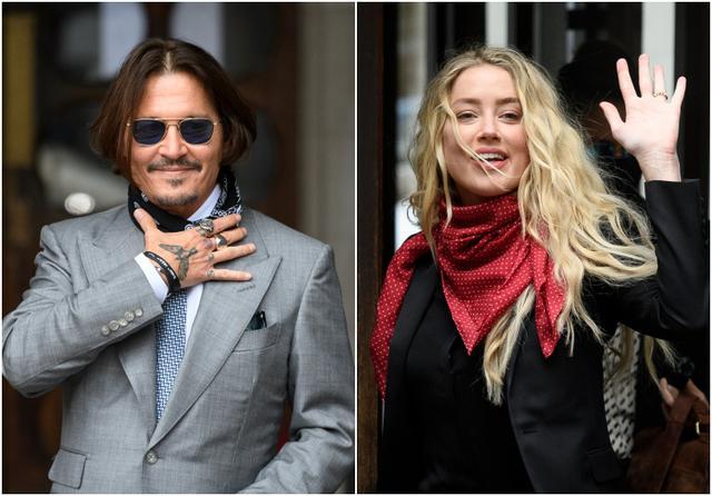 画像: 7月16日、高等法院から出てきたジョニーとアンバー。