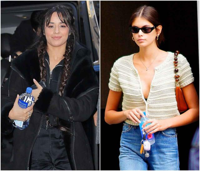 画像: テレビ出演に向かう人気シンガーのカミラ・カベロや、外出中の人気モデル、カイア・ガーバーの手元にもフィジーウォーター