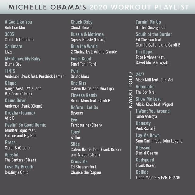 """画像: ミシェル・オバマは2020年1月、リゾやブルーノ・マーズ、エド・シーランらの楽曲と共に、ピンク・スウェッツの「オネスティ(Honesty)」を『2020年のワークアウト・プレイリスト』に選出。同曲は、""""クールダウン用""""のセクションで選出されている。©Michelle Obama/Twitter"""