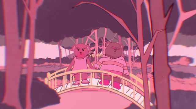 画像: 「17」のミュージックビデオに登場するピンク・ベア(右)。