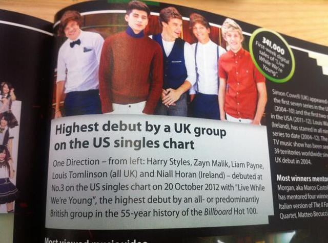 """画像: 2014年版ギネス世界記録には""""米シングルチャートで史上最高位のデビューを飾ったイギリスのグループ""""として掲載された。©️Guinness World Records/Twitter"""