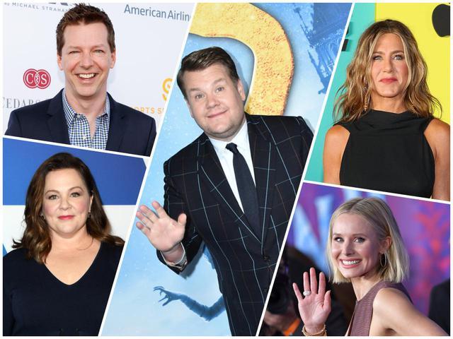 画像: 第一候補として真っ先に名前が挙がったジェームズ・コーデン(中央)と新たな候補者4人。ショーン・ヘイズ(左上)、メリッサ・マッカーシー(左下)、ジェニファー・アニストン(右上)、クリスティン・ベル(右下)。