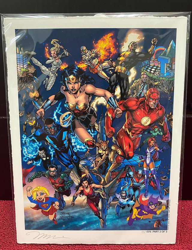 画像: そして最後は、なんと、伝説のDCコミックス・クリエイターであるジム・リーのサイン入り複製原画!右下に描かれている番号から、世界に375枚だけ存在するものの1つであることがわかる。