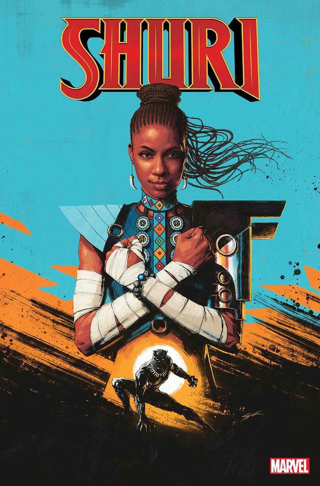 画像: 2018年にリリースされた作家のンネディ・オコラフォーによるコミックシリーズ『Shuri(シュリ)』。同シリーズでは、ティ・チャラが宇宙探査の旅に出て、ワカンダに国王が不在となっていることから、妹のシュリが王座に就き、兄に代わって国を守る姿が描かれている。