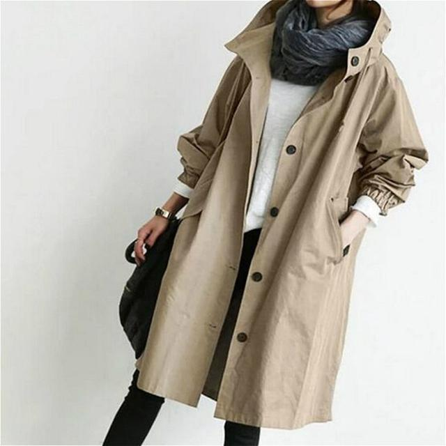 画像: Autumn Ladies Casual Windbreaker Mid-length Loose Hooded trench Coat, 7 Colors To Choose From 3,714円 *価格や在庫が変動する場合があります