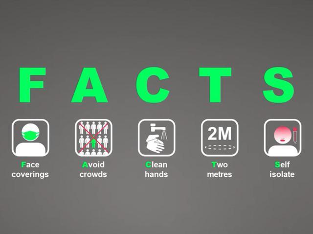 画像: 動画の最後では実施すべきことを5つ挙げ、その頭文字を取ってFACTS(事実)とした。 ⓒScottish Government/YouTube