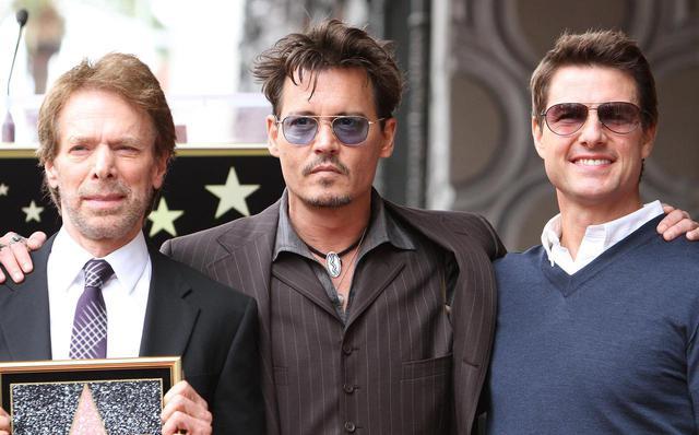 画像: 左からジェリー・ブラッカイマー、ジョニー・デップ、トム・クルーズ。