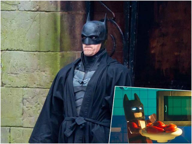"""画像: """"ジワる""""と話題の『ザ・バットマン』の写真が『レゴバットマン』と奇跡の一致 - フロントロウ -海外セレブ情報を発信"""