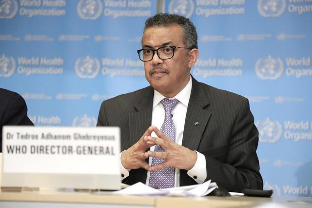 画像: WHOのテドロス・アダノム・ゲブレイェスス事務局長。