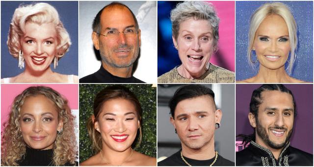 画像: 上段左から:マリリン・モンロー、スティーブ・ジョブズ、フランシス・マクド―マンド、クリスティン・チェノウェス。下段左から:ニコール・リッチー、ジェナ・アシュコウィッツ、スクリレックス、コリン・キャパニック。