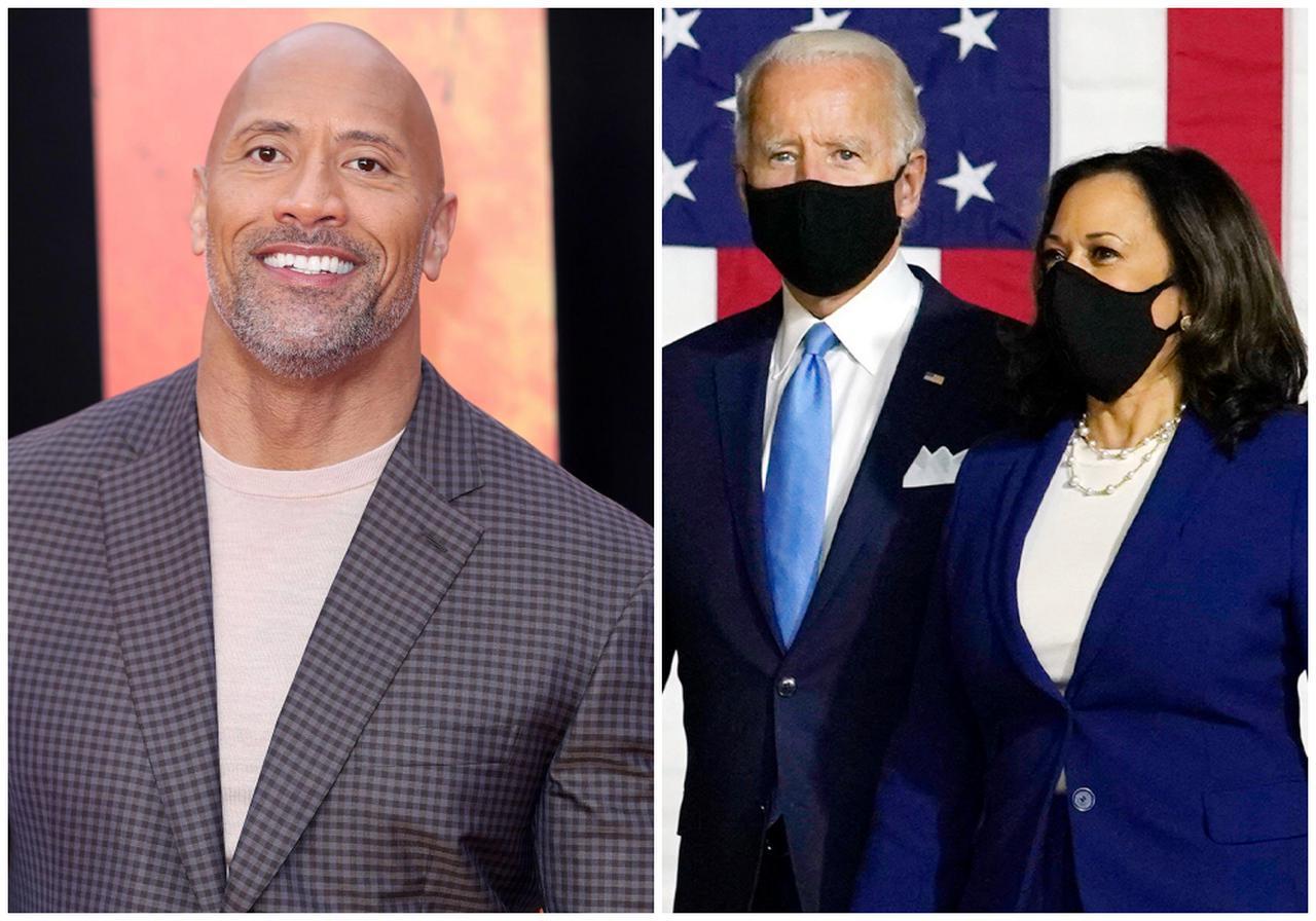 画像: 俳優のドウェイン・ジョンソン(写真左)と、2020年のアメリカ大統領選で勝利を確実にしたジョー・バイデン次期大統領とカマラ・ハリス次期副大統領(写真右)。
