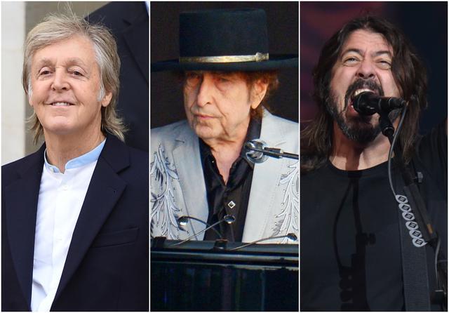 画像: 左から:ポール・マッカートニー、ボブ・ディラン、デイヴ・グロール