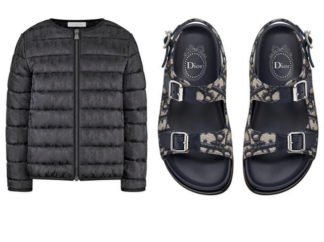画像: パデッドジャケット 89,000円(税抜) ディオール オブリークサンダル 62,000円(税抜)