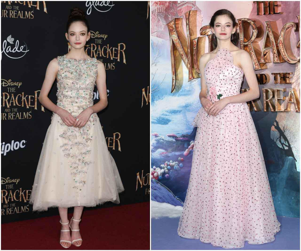 画像: 映画『くるみ割り人形と秘密の王国』のUSプレミアではシャネル(左)、ヨーロッパプレミアではロダルテ(右)のドレスを着用した。