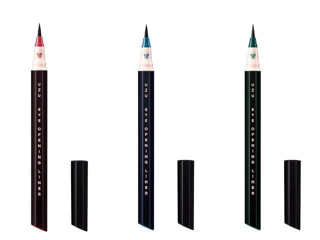 画像: UZU「アイオープニングライナー セブンシェイズ オブ ブラック」 左からレッドブラック、ネイビーブラック、グリーンブラック 各1,500円(税抜)