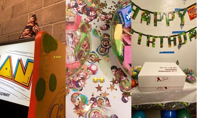 画像: ゼインの顔写真がプリントされたパーティーハットやテーブルアレンジ用の小物も。「HAPPY BIRTHDAY」のバナーはMinecraft(マインクラフト)の書体で。©Gigi Hadid/Instagram