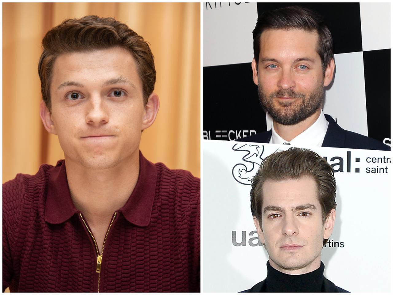 画像: 3代目スパイダーマンのトム・ホランド(左)と初代スパイダーマンのトビー・マグワイア(右上)、2代目スパイダーマンのアンドリュー・ガーフィールド(右下)。