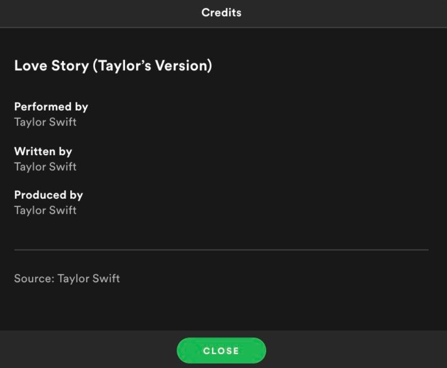 画像: Spotifyの「ラヴ・ストーリー(テイラーズ・バージョン)」のクレジット。©Spotify