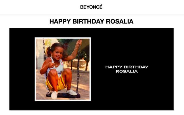 画像: ビヨンセは公式サイトにロザリアの誕生日を祝うメッセージを掲載した。©︎Beyonce.com