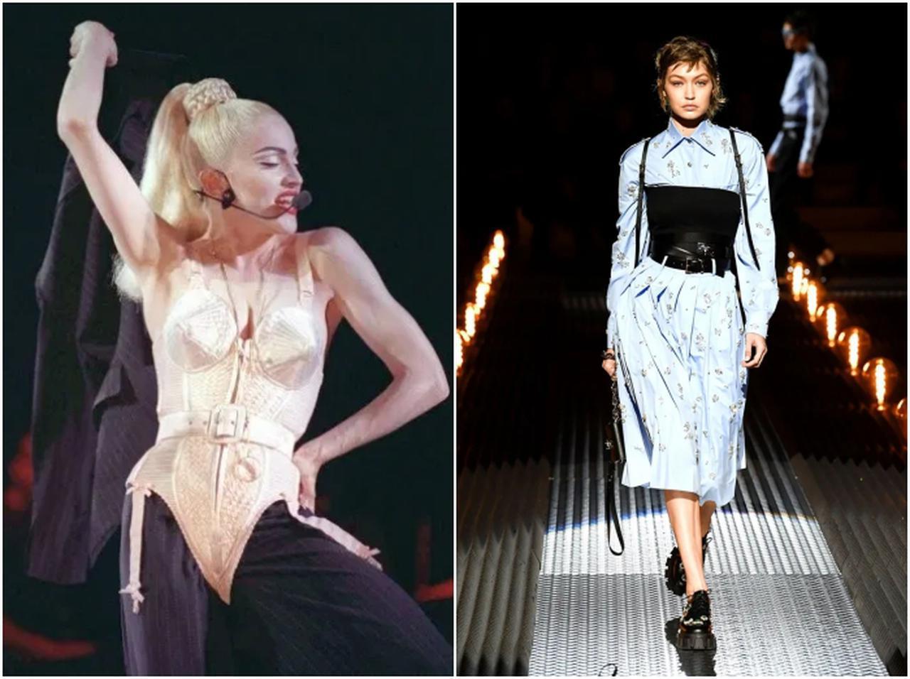 画像: 1990年、マドンナがジャンポール・ゴルチエに依頼したコルセットスーツは、歴史的名作と称された。プラダ2019-20年秋冬コレクションで、シャツドレスの上から着けたハードなコルセットが話題を呼んだ。